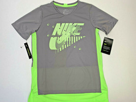 Nwt Sizes M L Youth Nike Drifit Logo Tshirt Polyester Soft Gray Neon Green Boys - $16.99