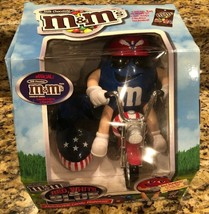 Vintage M&Ms Red White And Blue Flames Motorcycle Candy Dispenser - $23.03