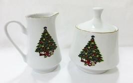 Vtg Christmas tree porcelain creamer sugar bowl set kitchen ware - $9.89