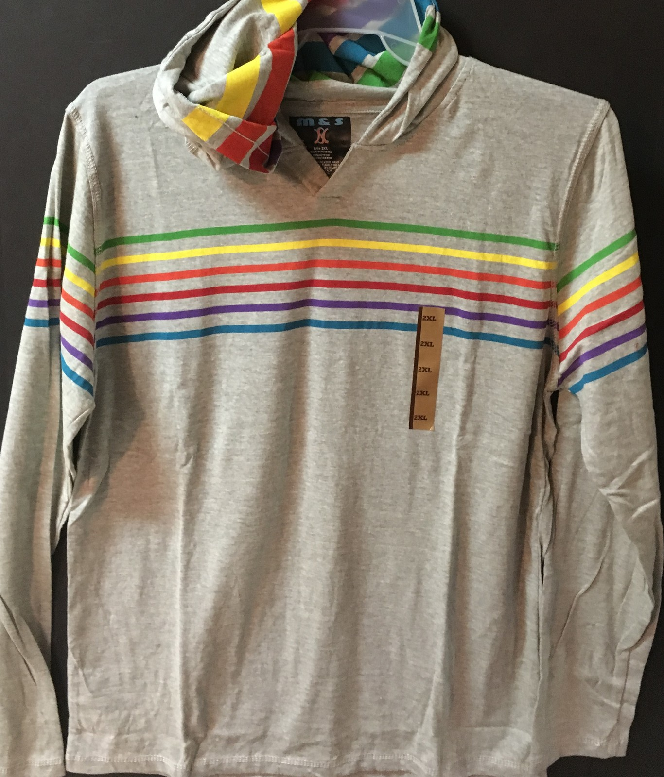 M&S Light Weight Hoodie Shirt Gray w/Rainbow Stripes NWT Sz 2XL, M