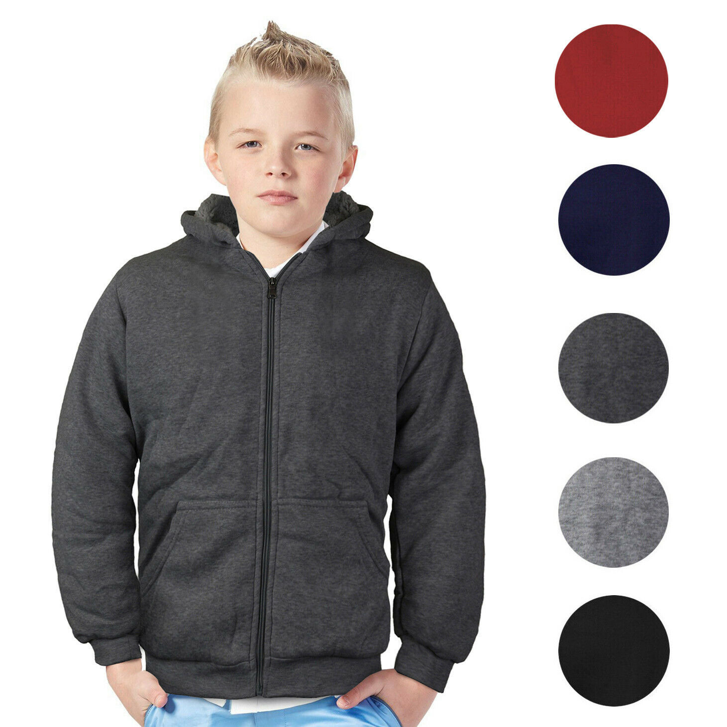 Boys Kids Toddler Athletic Soft Sherpa Lined Fleece Zip Up Hoodie Sweater Jacket