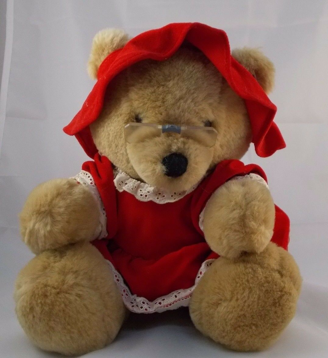"Primary image for Dakin Grandmother Bear Plush Glasses Sits 10"" 1986 Grandma Stuffed Animal toy"
