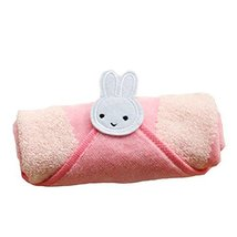 Set of 2 Cute Catoon Bunny Cotton Baby Washcloths Soft Portable Facecloths,PINK