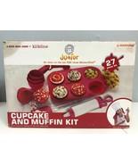 Junior Kids Children Cupcake And Muffin Kit 4 Kids Who Cook Baking Set Red - $14.03