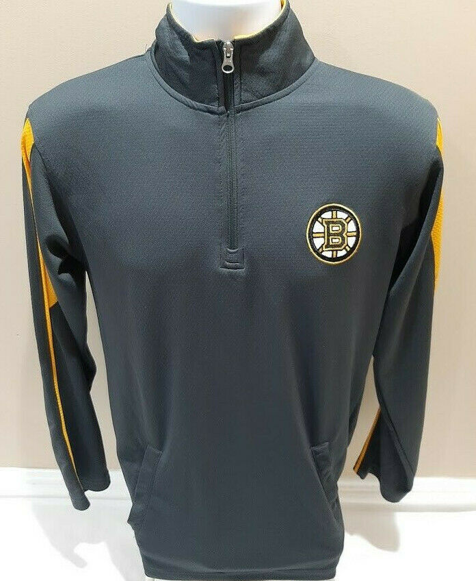 Primary image for Boston Bruins NHL Hockey 1/4 Zip Gray Pullover Shirt Light Jacket S 34/36 EUC
