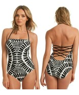 Trina Turk Algiers Black White Bandeau Strappy Back One Piece Swimsuit 4 - $103.50