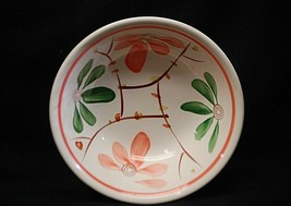 "Classic Handpainted 7-1/4"" Soup Cereal Bowl w Peach & Green Flowers Korea - $14.84"
