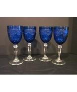4 Vintage Cristal D'Arques Cobalt Blue Luminarc 10 oz Wine Glass Goblets... - $90.00