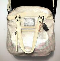 Coach Poppy ~ Pearl Opal Sequins Large Highlight Bag Tote ~ Patent Leather Trim image 9