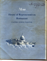 1964 House of Representatives Restaurant menu Signed by Paul C Jones of Mo. - $9.89