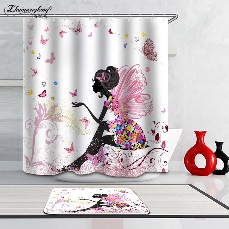 3d design bathroom curtain pink butterfly woman polyester fabric waterproof shower curtains 1pc