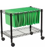 Black Single Tier Rolling File Cart Letter Size Storage Office Organizer... - $58.31