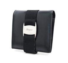 Auth SALVATORE FERRAGAMO Vara Black Leather Bif... - $129.00