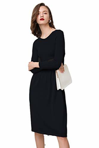 Knit Dress  Women's Cashmere Boat Neck Ribbed Elbow Fall&Winter Dresses