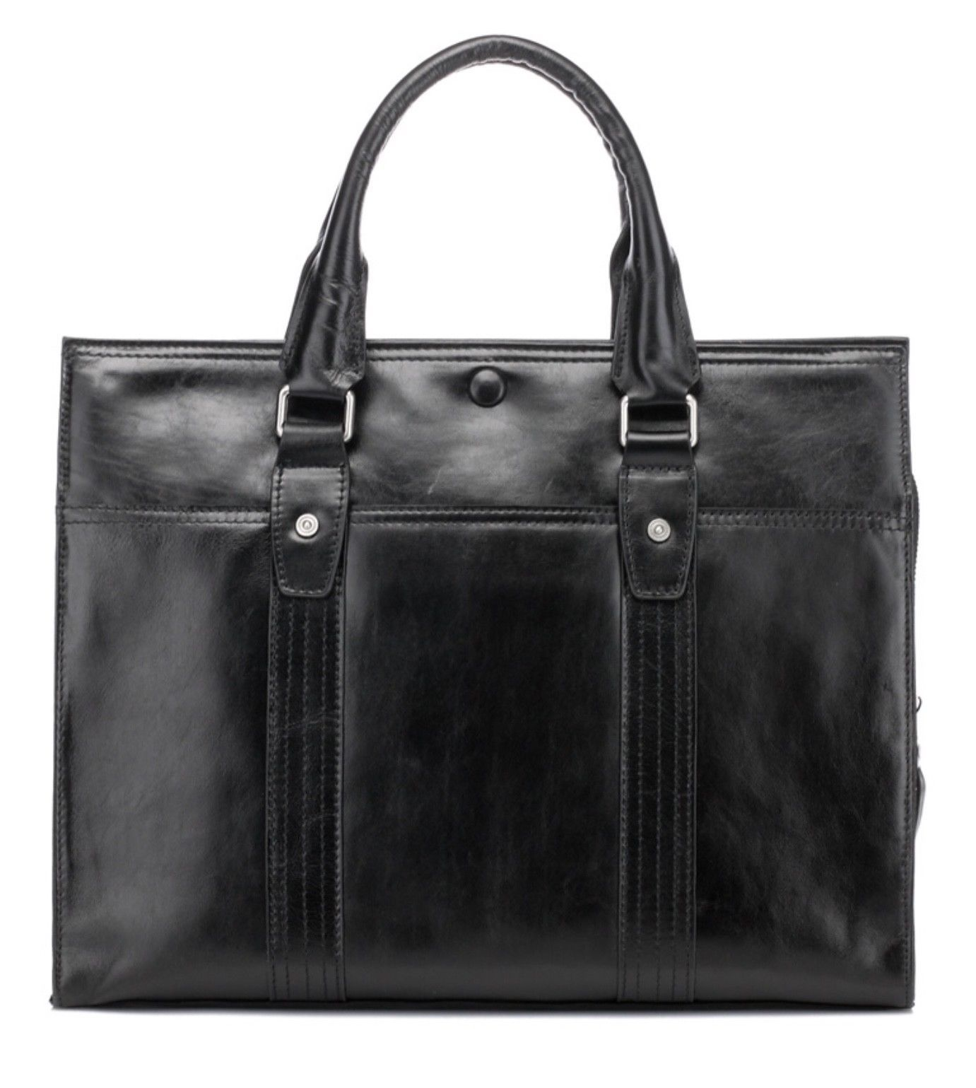Mens Black Italian Leather Business Bag Briefcase Laptop Case Messenger Bag
