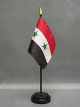 """Syria 4X6"""" Table Top Flag W/ Base New Desk Top Handheld Stick Flag - $4.95"""