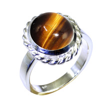 Natural Tiger's Eye Oval Gemstone Silver Ring For Women Anniversary Gift... - $20.89