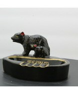 VTG Great Smoky Mountains souvenir ashtray w/ bear, 1950s, cabin decor Gold Trim - $14.55