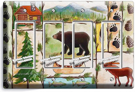 Hunting Cabin Fever Moose Grizzly Bear 4 Gfci Light Switch Wall Plate Room Decor - $19.79