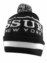SSUR Black White New York Pom Beanie Skully Cap Winter Ski Hat NY NWT image 2
