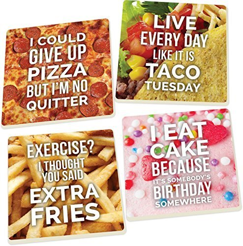 Food Humor Tacos, Pizza, Fries and Birthday Cake 4 Piece Square Ceramic Coaster