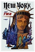 """NEW YORK CITY """"Lady Liberty"""" Airline Travel Print - measures 24"""" wide x ... - $19.95"""