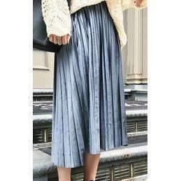 Daisy dress for less skirts blue gray chic pleated velvet women midi skirts 1388016107551