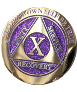 10 Year AA Medallion Elegant Glitter Purple Gold Plated Sobriety Chip Coin Ten - $19.99