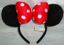 Disney Parks Minnie Mouse Red Polka Dot Ears Plush Headband One Size - $19.79