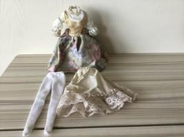 BARBIE DOLL SOUND OF MUSIC MARIA FLORAL SKIRT VEST BLOUSE Dress Stockings Slip T image 1