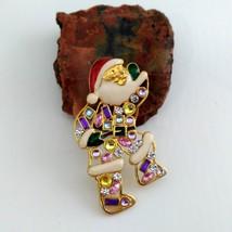 Santa Brooch Gold Tone with Multi-Colored Rhinestones image 1