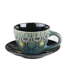 [BLUE] Vintage Style Coffee Cup Cafe Coffee Mug With A Plate 250ML