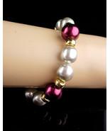 Vintage Napier Bracelet - large pearls - Gray and burgundy wine color - ... - $45.00