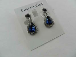 Charter Club Silver Tone Blue/Clear Crystal Teardrop Earrings - New - $17.82