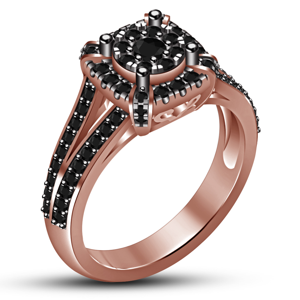 Rose Gold Finish 925 Silver Round Cut Black Simulated ...