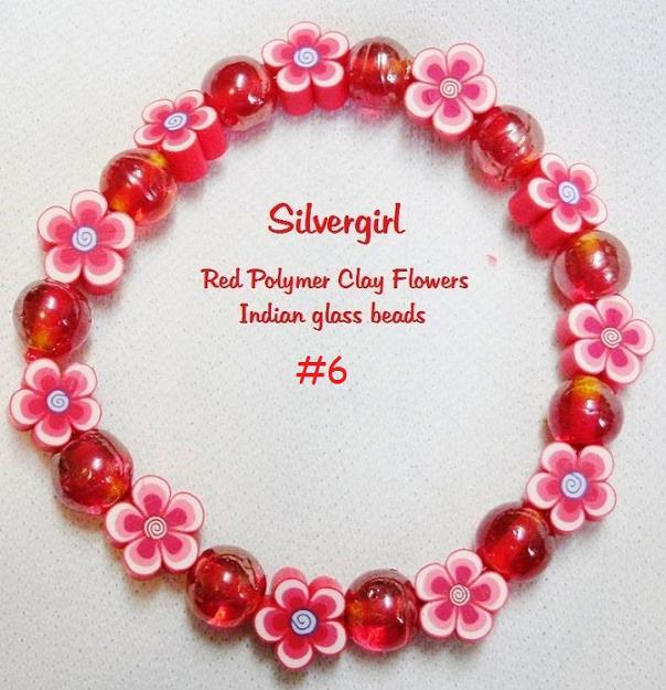 Primary image for Polymer Clay Flower Glass Stretch Bracelet 6 Color Choices