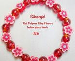 Red polymer clay  flowers red glass bead  bracelet stretch thumb155 crop
