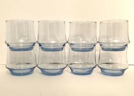 "Libbey Impromptu Azure Blue On The Rocks Glass 3 1/8"" Tall Set Of 8 Flar... - $25.74"