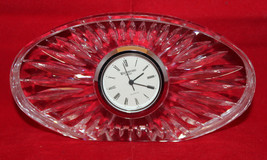 """Waterford Crystal Oval Shaped Mantel Small Desk Clock Ireland 12cm 4 3/4"""" Wide - $31.60"""