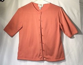Talbots Women's Petite Cardigan Sweater SZ. small 1/4 Sleeve Coral Made in ITALY - $10.70