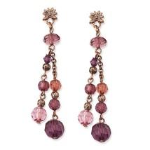 Ladies Rose Tone Pink Purple Acrylic Beads Post Dangle Earrings 1928 Bou... - $28.20