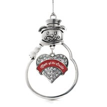Inspired Silver Crimson Red Mom of the Bride Pave Heart Snowman Holiday Decorati - €12,73 EUR