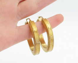 925 Sterling Silver - Vintage Gold Plated Minimalist Round Hoop Earrings... - $38.72