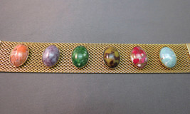 VTG Sarah Coventry Bracelet Wide Mesh Marbled Cabochon Stones Gold Plate... - $36.62