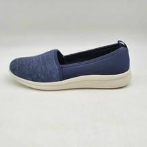 Lands End Womens Knit Comfort Flat Walking Shoes Deep Sea Navy Blue Slip On 7.5D - $26.72