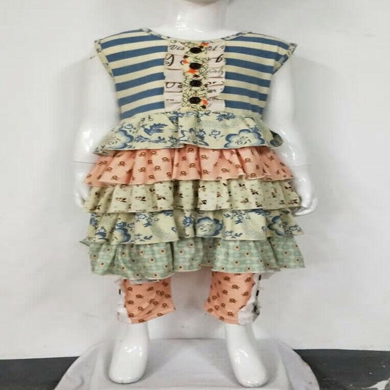 NEW Boutique Ruffle Tunic Dress Capri Leggings Girls Outfit Set - $19.99