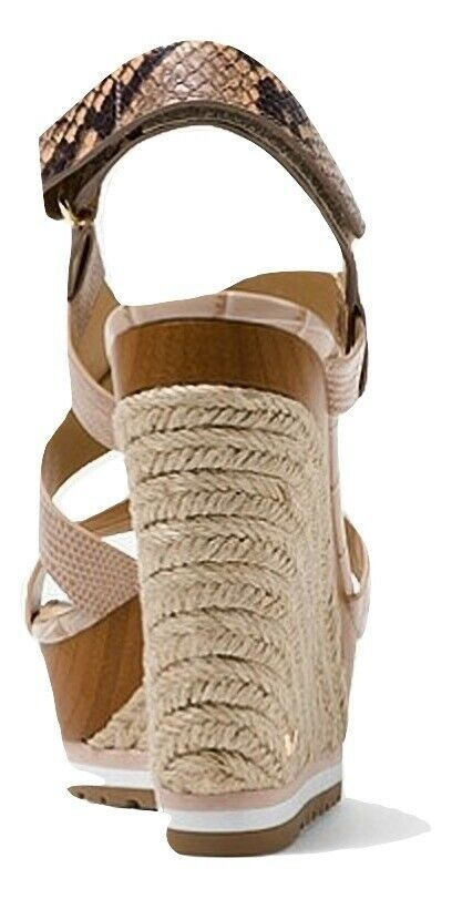 MICHAEL Michael Kors Mackay Embossed Leather Wedge Sandals
