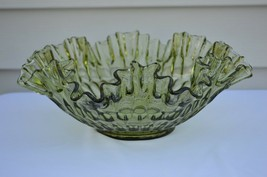 "Fenton Thumbprint Colonial Green Large Bowl  #4427 CG 12"" - $24.75"