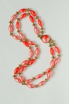 Unique vintage Hong Kong plastic necklace:bicolored pink/red &gold paint... - $21.77