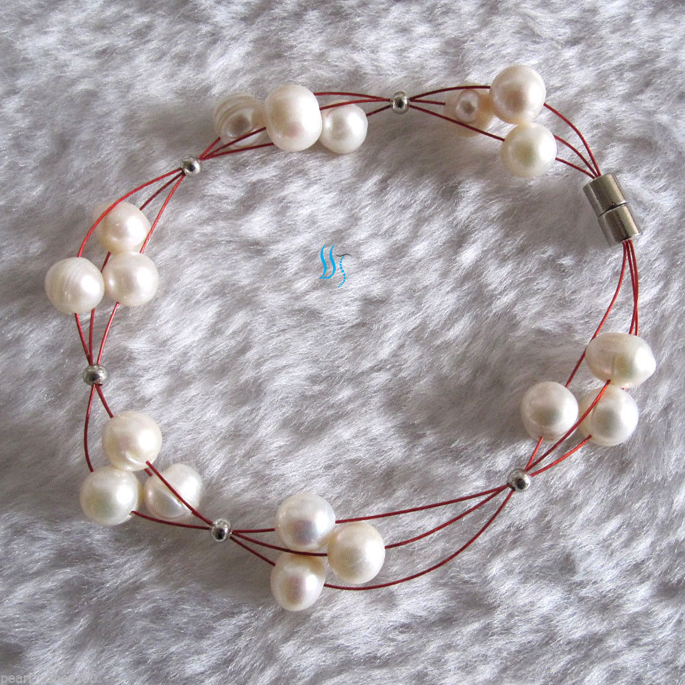 "20"" 7.5"" 6-8mm 3Row Freshwater Pearl Wire Bracelet Necklace AC——MORE COLORS"